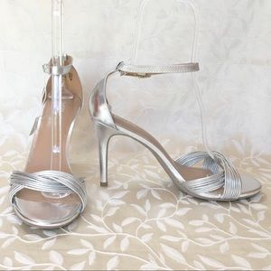 ⬇️$40 Silver Stiletto Heels Ankle Strap Formal New